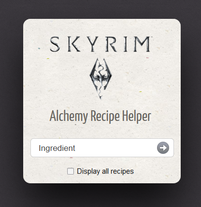 Skyrim Alchemy Recipe Helper Screenshot